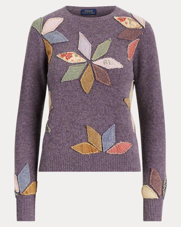Jersey en mezcla de lana con diseño de patchwork