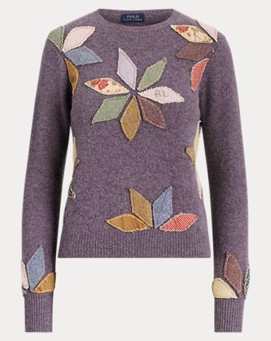 Patchwork-Pullover aus Wollmischung
