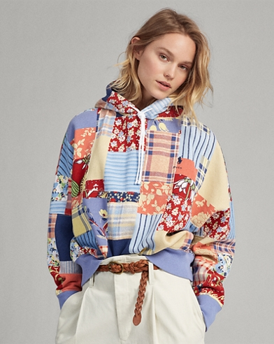 Fleece-Kapuzenjacke mit Patchwork