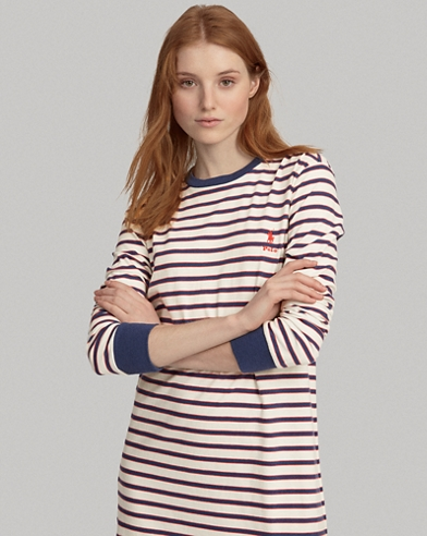 Robe t-shirt en coton rayé