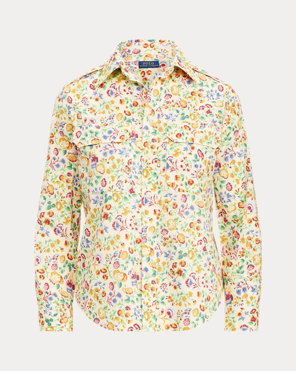 Floral Cotton Military Shirt