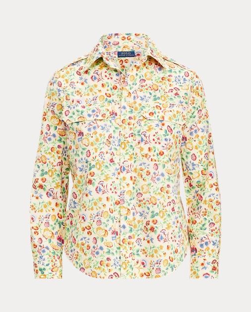 Cotton Cotton Cotton Shirt Military Floral Floral Military Floral Floral Shirt Cotton Shirt Military Ibyf6gvY7