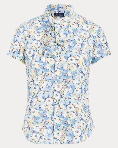 Floral Necktie Linen Shirt
