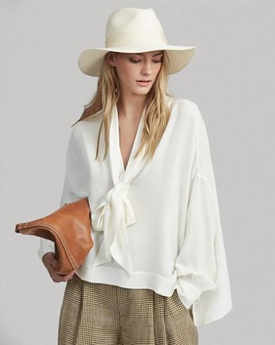 Camisa de georgette de seda con lazo en el cuello