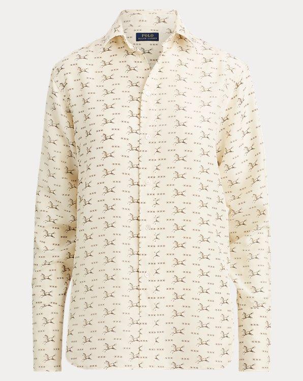 Camisa de seda con estampado de caballo