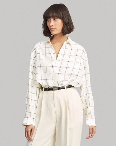 Plaid Silk Broadcloth Shirt
