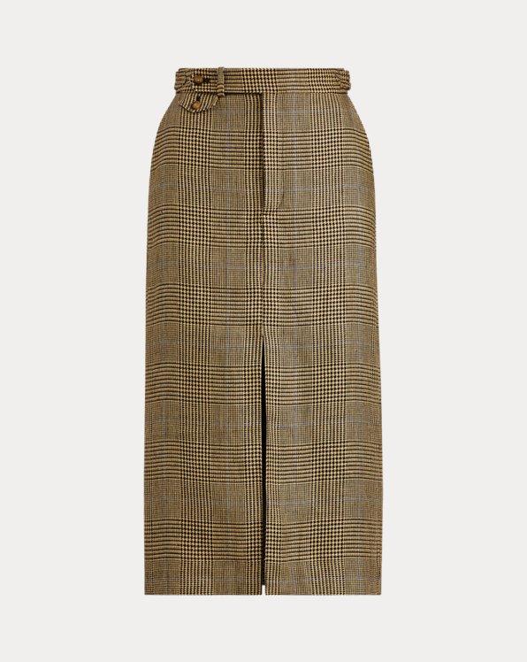 Glen Plaid Linen-Cotton Skirt