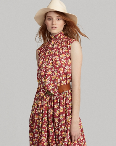 Floral Necktie Silk Dress