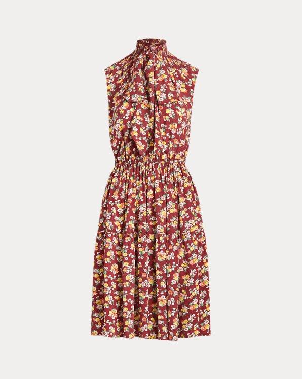 Floral Necktie Silk Dress