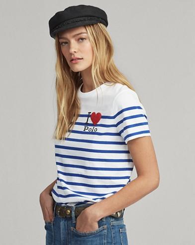 Maglietta Polo a righe con grafica