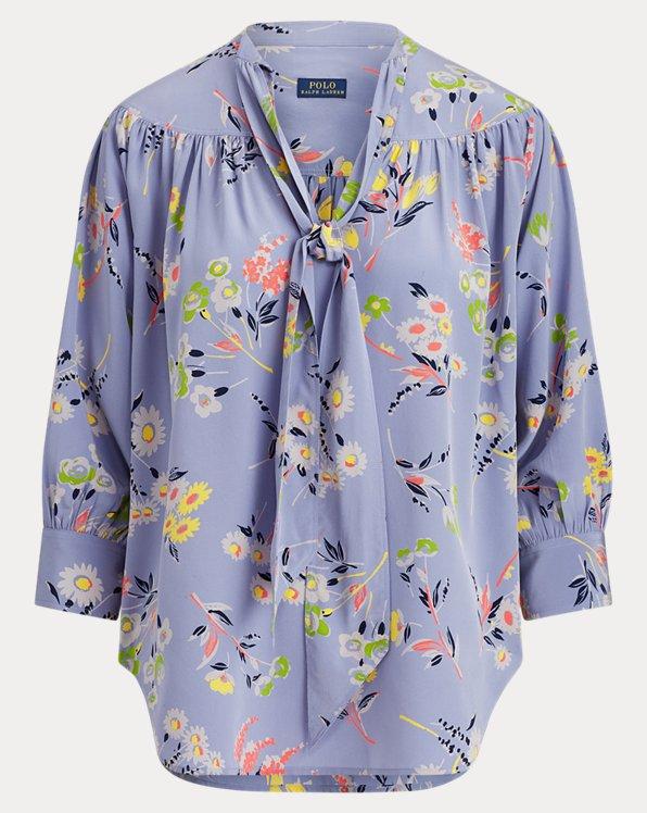Floral Necktie Silk Blouse