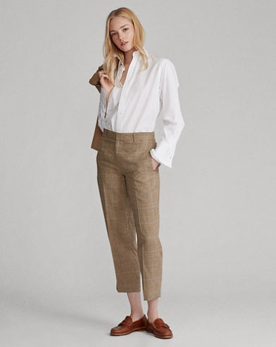 Houndstooth Linen-Blend Pant
