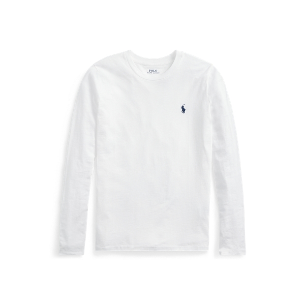 폴로 랄프로렌 Polo Ralph Lauren Jersey Long Sleeve Shirt,White