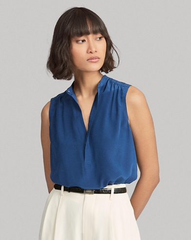 Sleeveless Silk Shirt