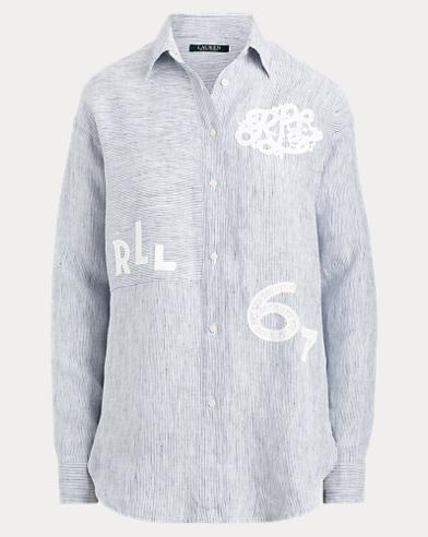 Lace-Patch Linen Shirt