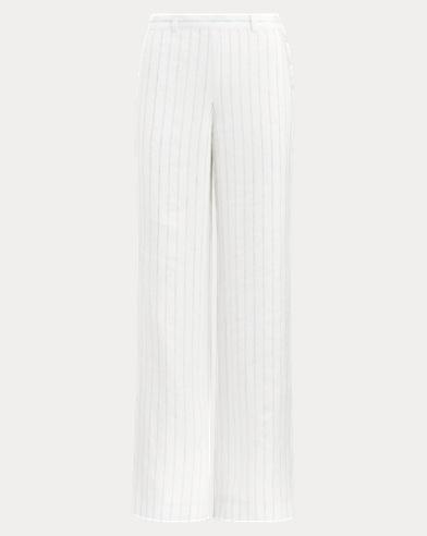 Pinstripe Wide-Leg Linen Pant