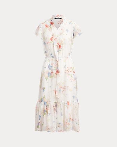 Floral Necktie Georgette Dress