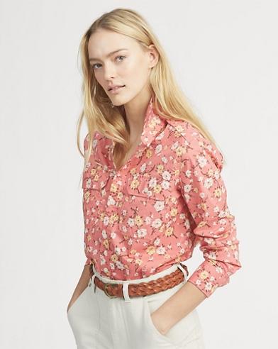 Floral Cotton Military Shirt