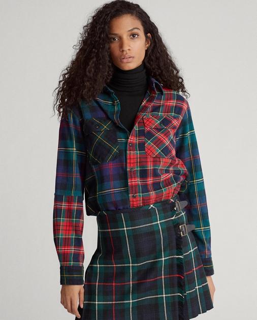 Contrast Plaid Cotton Shirt by Ralph Lauren