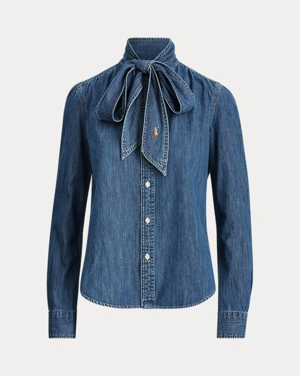 Camicia in denim con cravatta