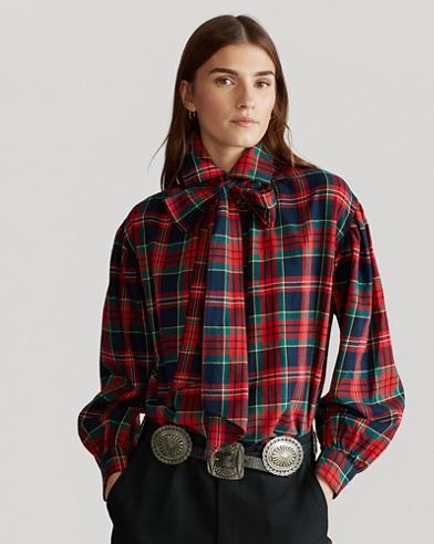 Kariertes Baumwollhemd mit Schleife