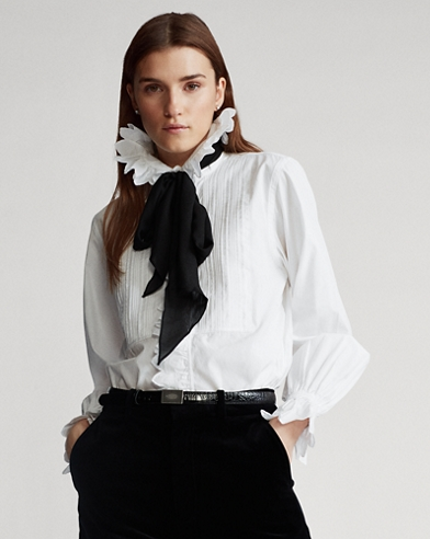 Ruffled Necktie Cotton Shirt