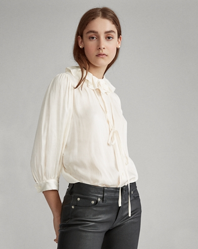 Ruffle-Collar Satin Shirt