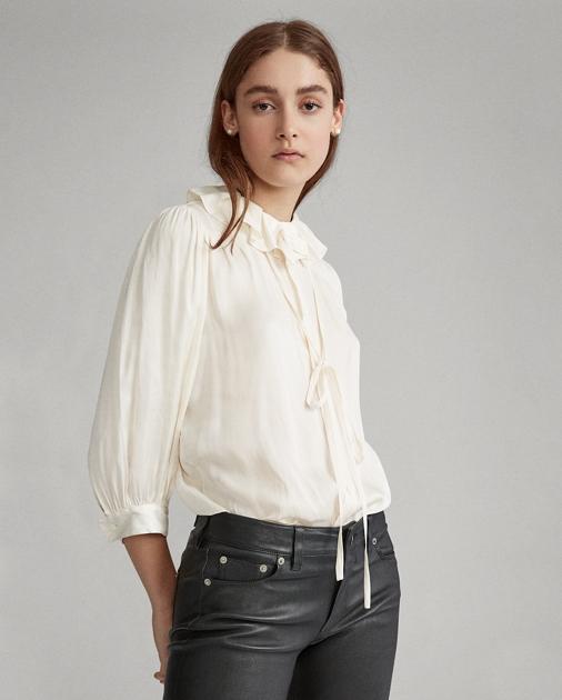 Polo Ralph Lauren Ruffle-Collar Satin Shirt 1