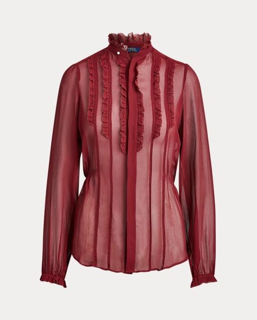 Polo Ralph Lauren Camisa de seda con ribete de volantes 1