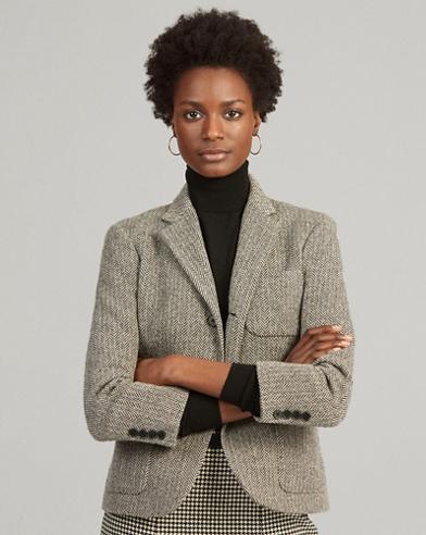 Blazer en mezcla de lana con diseño en espiga