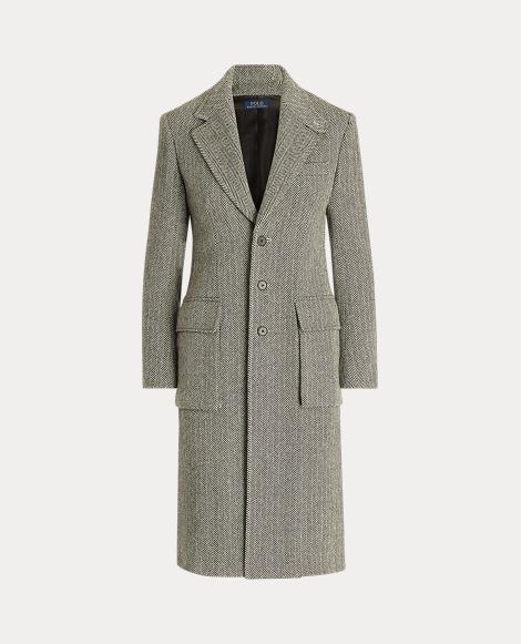 Fischgrat-Mantel aus Wollmischung