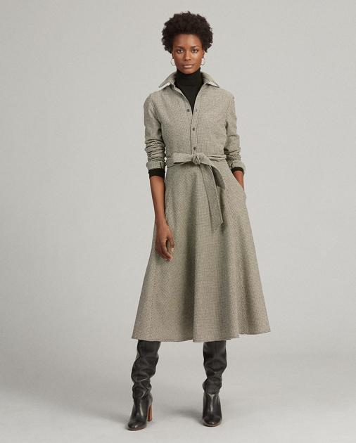 Polo Ralph Lauren Houndstooth Wool-Blend Dress 1