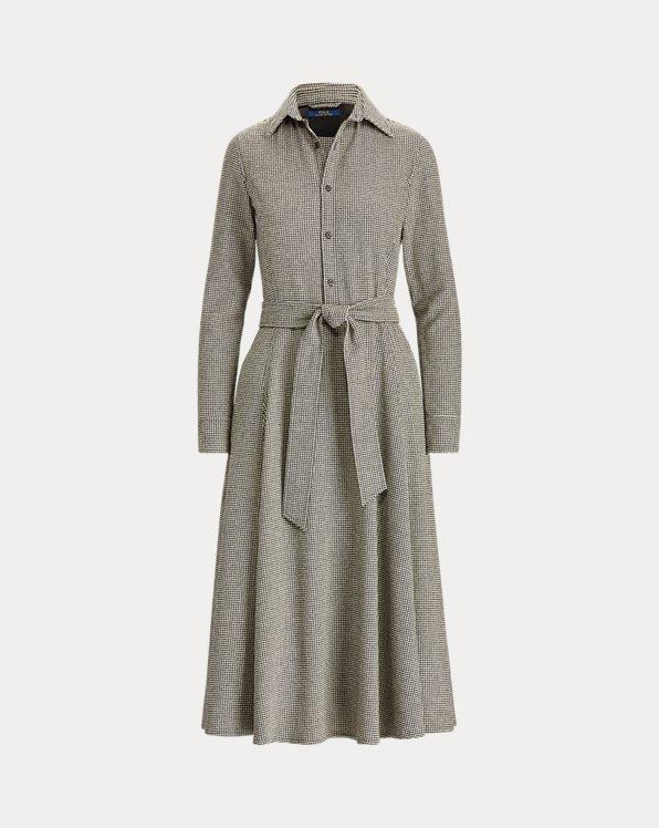 Hahnentritt-Kleid aus Wollmischung