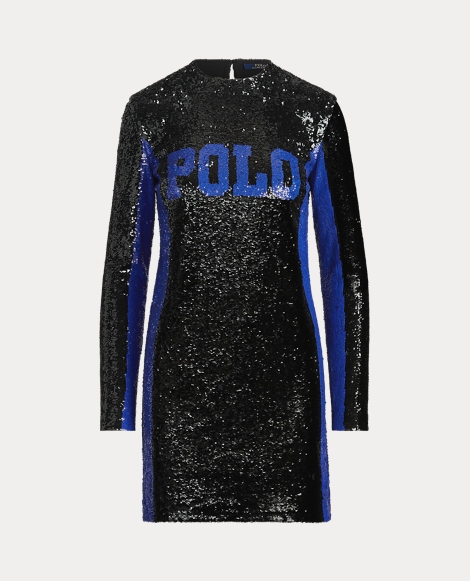 Sequined Polo Shift Dress