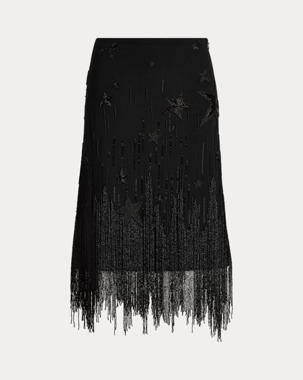 Beaded-Fringe Skirt
