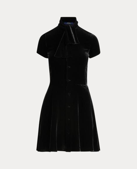 Robe en velours à col lavallière