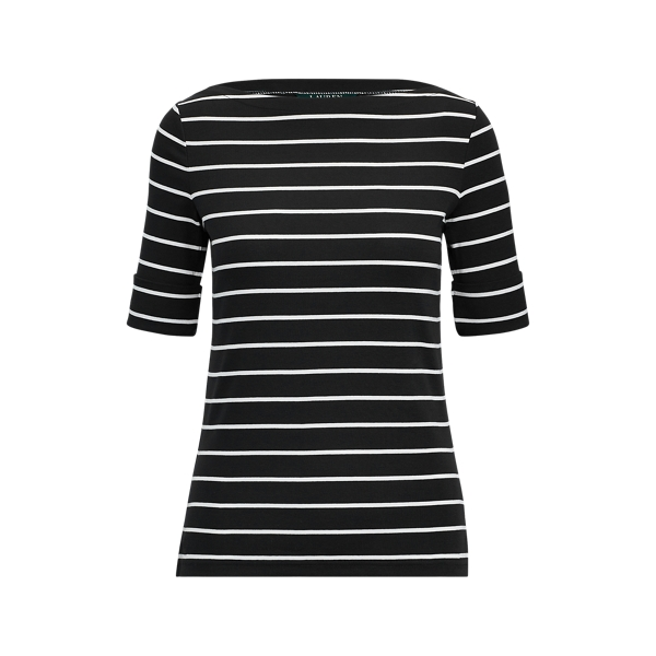폴로 랄프로렌 Polo Ralph Lauren Striped Boatneck Top,Polo Black/White
