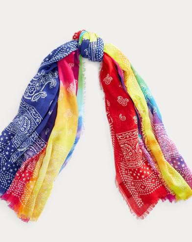 Patchwork Tie-Dye Cotton Scarf