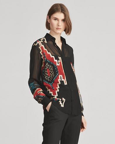 Antonella Sequined Silk Blouse