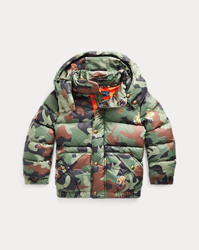 Camouflage-Daunenjacke mit Bear