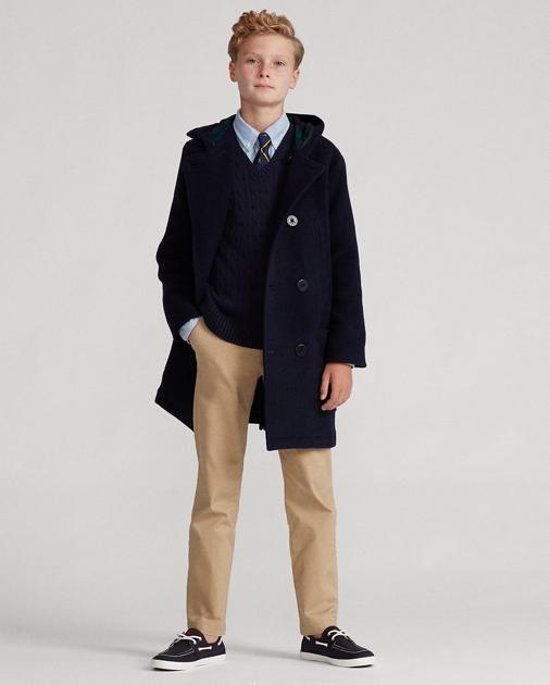 best website 5952b 0ea6d Wool-Blend Hooded Peacoat
