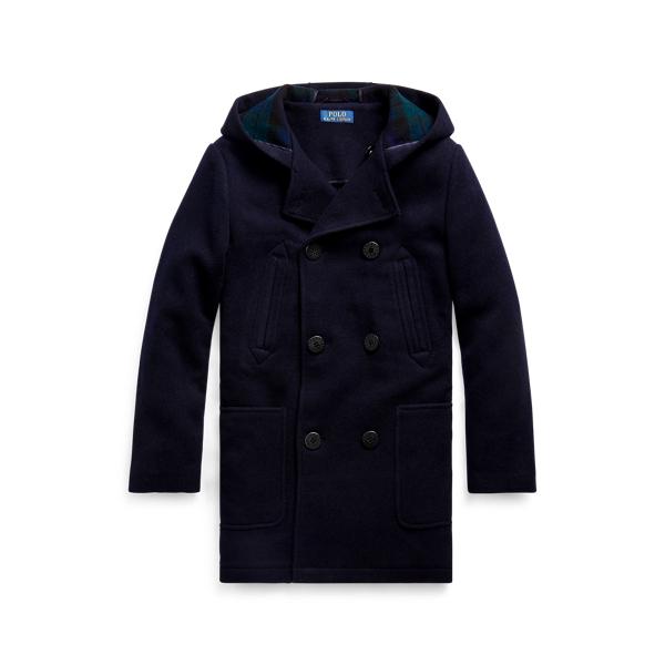 폴로 랄프로렌 보이즈 Polo Ralph Lauren Wool-Blend Hooded Peacoat,Navy/Blackwatch