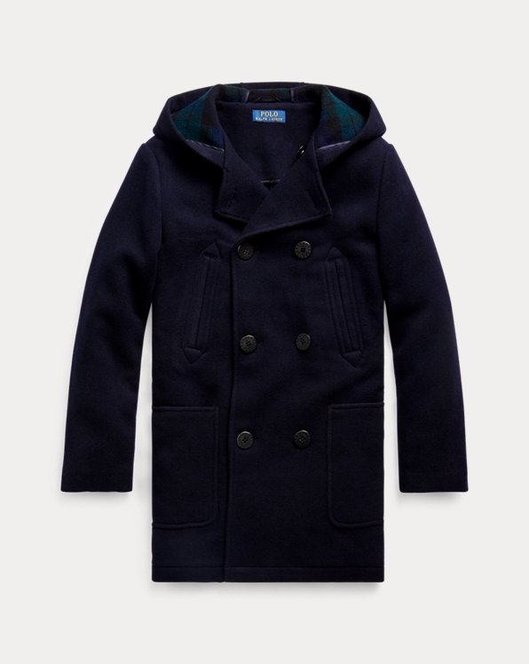 Wool-Blend Hooded Peacoat