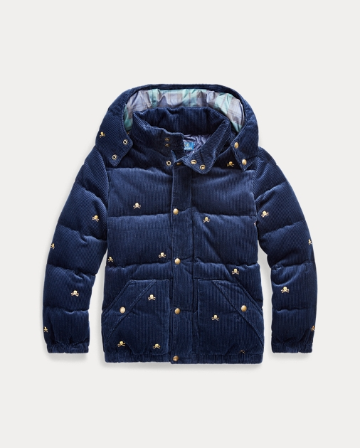 Corduroy Down Hooded Jacket