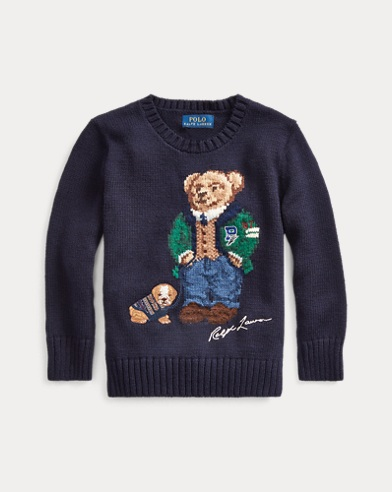 Wollpullover mit Polo Bear