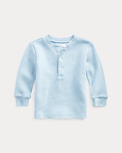 T-shirt à col tunisien coton gaufré