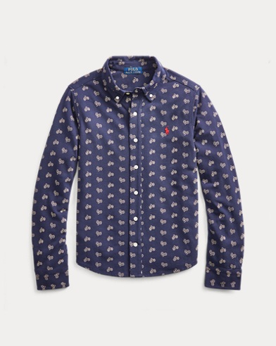 Bike-Print Knit Oxford Shirt