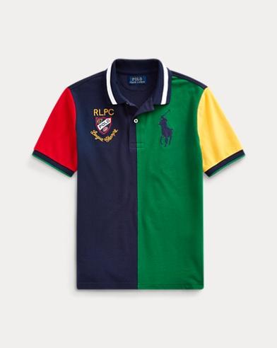 Colour-Blocked Cotton Mesh Polo