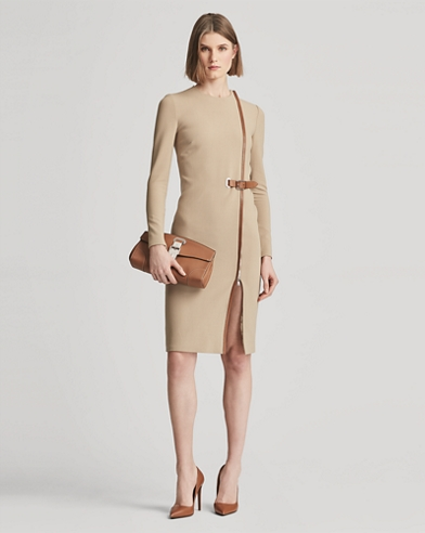 Evelina Belted Wool Dress