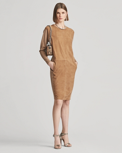 Suede and Wool Crewneck Dress